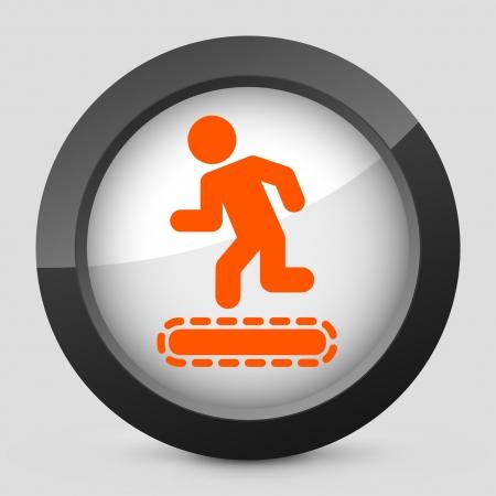 tapis: Vector illustration of single isolated elegant orange glossy icon. Illustration