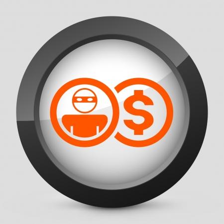 Vector illustration of single isolated elegant orange glossy icon. Illustration