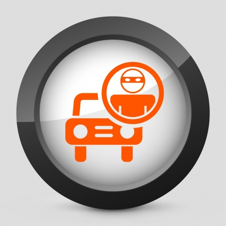 thieving: Vector illustration of single isolated elegant orange glossy icon. Illustration