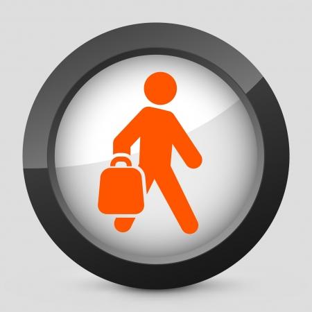 expenditure: Vector illustration of single isolated elegant orange glossy icon. Illustration
