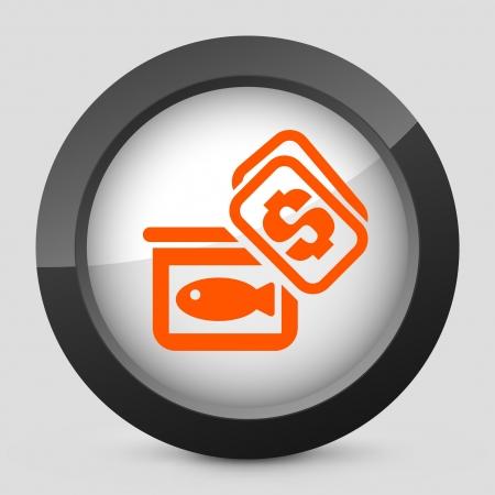 Vector illustration of single isolated elegant orange glossy icon. Ilustração