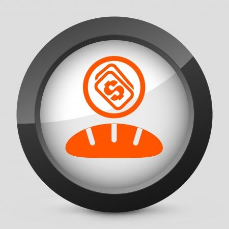 bakery price: Vector illustration of single isolated elegant orange glossy icon. Illustration