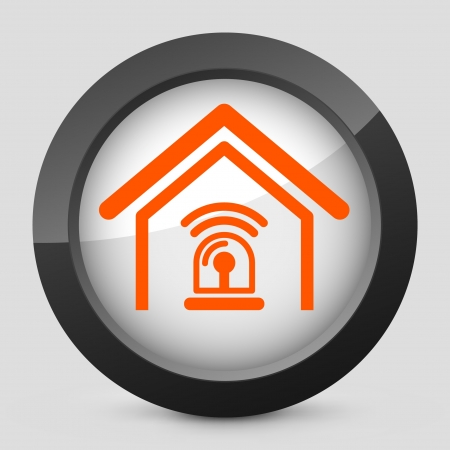 burglar alarm: Vector illustration of single isolated elegant orange glossy icon. Illustration
