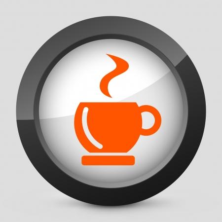 chamomile tea: Vector illustration of single isolated elegant orange glossy icon. Illustration
