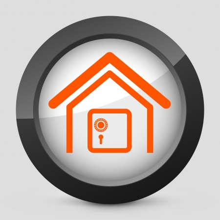 Vector illustration of single isolated elegant orange glossy icon. Stock Vector - 17790059