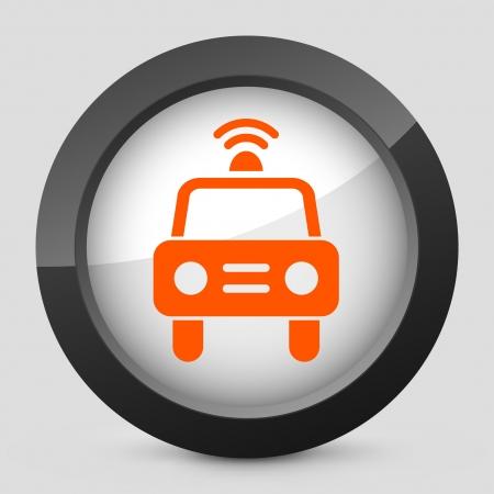 blocco stradale: Illustrazione vettoriale di singolo ed isolato elegante arancione icona lucido.