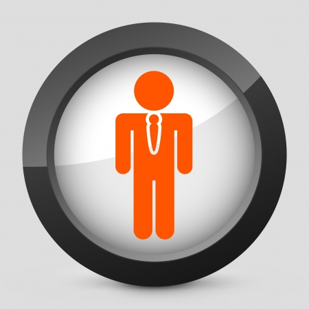employed: Vector illustration of single isolated elegant orange glossy icon. Illustration