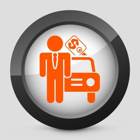 car showroom: Ilustraci�n vectorial de un solo aislado elegante icono naranja brillante.