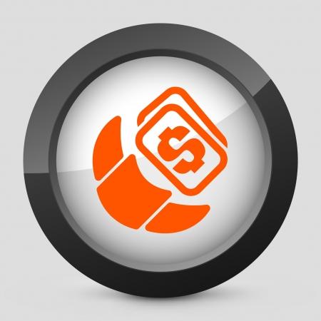 Vector illustration of single isolated elegant orange glossy icon. Stock Vector - 17790359