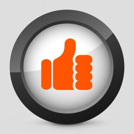 Vector illustration of single isolated elegant orange glossy icon. Stock Vector - 17790684