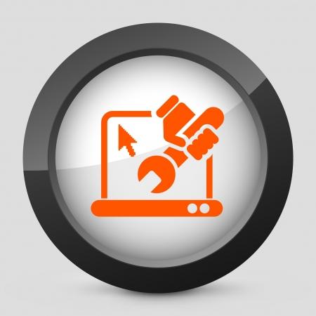 laptop repair: Ilustraci�n vectorial de un solo aislado elegante icono naranja brillante.