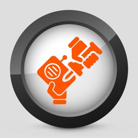 reparations: Ilustraci�n vectorial de un solo aislado elegante icono naranja brillante.