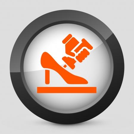 shoe repair: Vector illustration of single isolated elegant orange glossy icon. Illustration