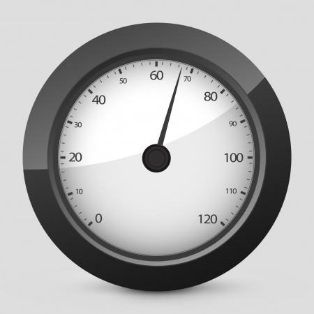 rev counter: Vector illustration of single isolated elegant orange glossy icon. Illustration