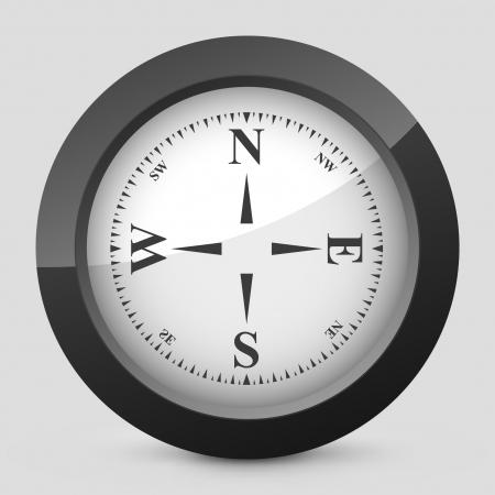 coordinates: Vector illustration of single isolated elegant orange glossy icon. Illustration