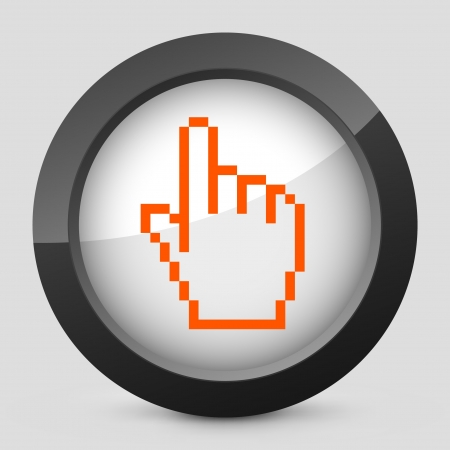 Vector illustration of single isolated elegant orange glossy icon. Illustration