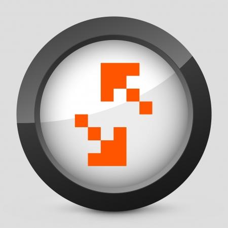 Vector illustration of single isolated elegant orange glossy icon. Ilustrace