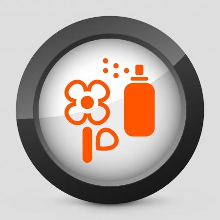 herbicide: Vector illustration of single isolated elegant orange glossy icon. Illustration