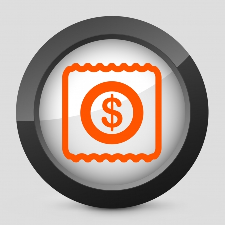 Vector illustration of single isolated elegant orange glossy icon. Illusztráció
