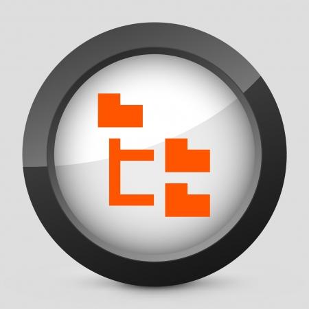 Vector illustration de la seule icône isolé lustré élégant orange.