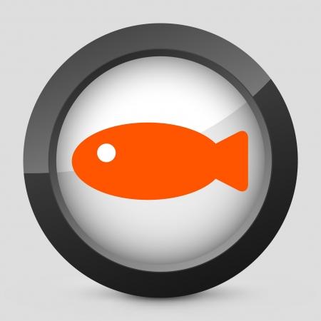 fisheries: Vector illustration of single isolated elegant orange glossy icon. Illustration