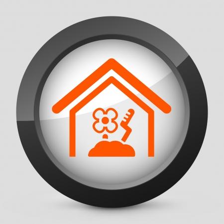 Vector illustration of single isolated elegant orange glossy icon. Stock Vector - 17790231