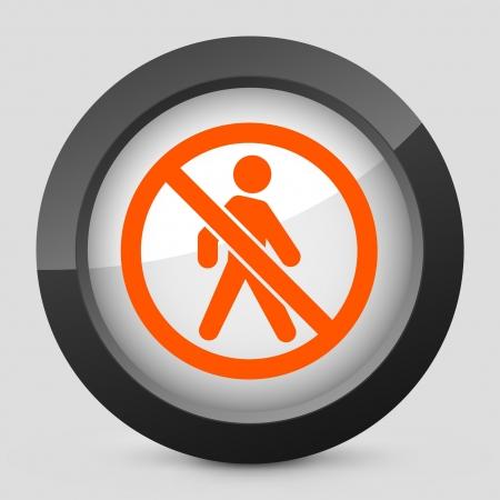 exclude: Vector illustration of single isolated elegant orange glossy icon. Illustration