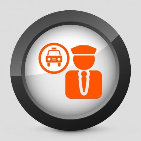 chauffeur: Vector illustration of single isolated elegant orange glossy icon. Illustration