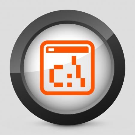 dos: Vector illustration of single isolated elegant orange glossy icon. Illustration