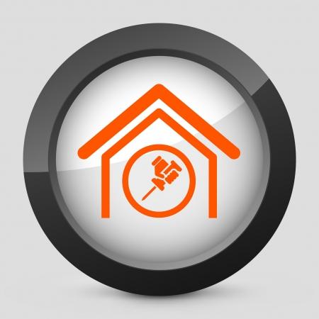 bricolage: Vector illustration of single isolated elegant orange glossy icon. Illustration