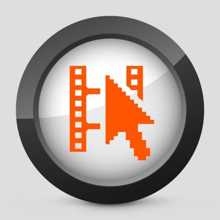 clik: Vector illustration of single isolated elegant orange glossy icon. Illustration