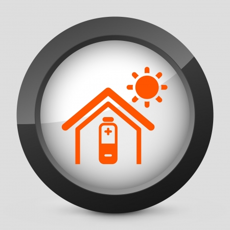 Vector illustration of single isolated elegant orange glossy icon. Vectores