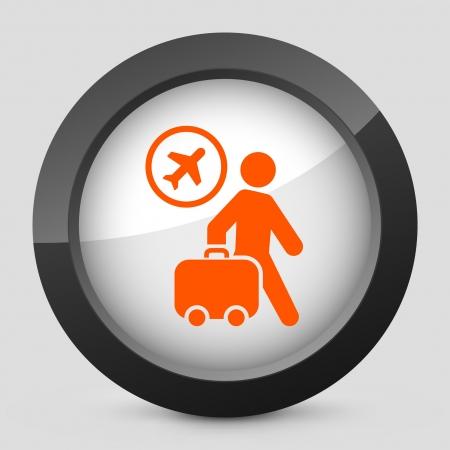 trolley case: Vector illustration of single isolated elegant orange glossy icon. Illustration