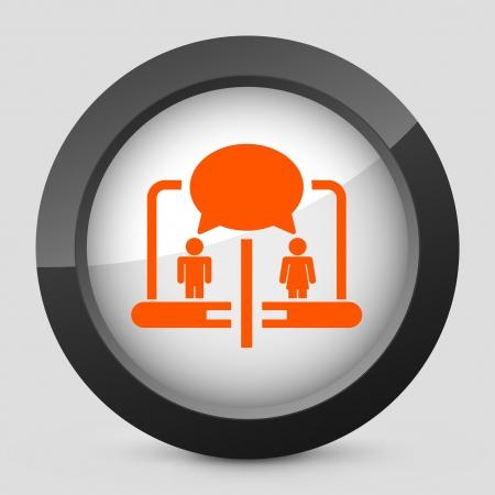 Vector illustration of single isolated elegant orange glossy icon. Stock Vector - 17790258