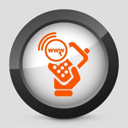 cellulare: Vector illustration of single isolated elegant orange glossy icon. Illustration
