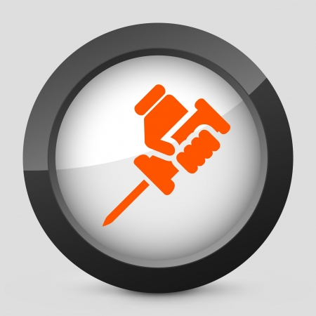 reparations: Vector illustration of single isolated elegant orange glossy icon. Illustration