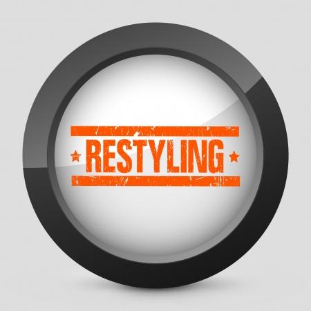 restyled: Vector illustration of single isolated elegant orange glossy icon. Illustration