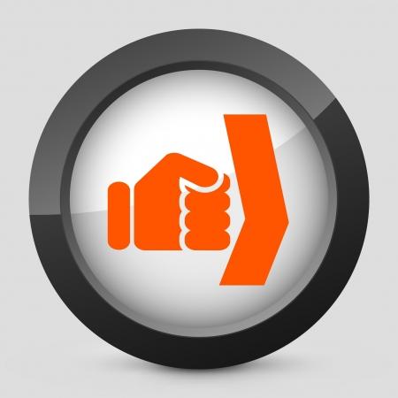overthrow: Vector illustration of single isolated elegant orange glossy icon. Illustration