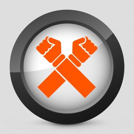 la union hace la fuerza: Ilustraci�n vectorial de un solo aislado elegante icono naranja brillante.