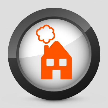 Vector illustration of single isolated elegant orange glossy icon. Stock Vector - 17790054