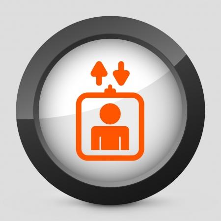 domicile: Vector illustration of single isolated elegant orange glossy icon. Illustration