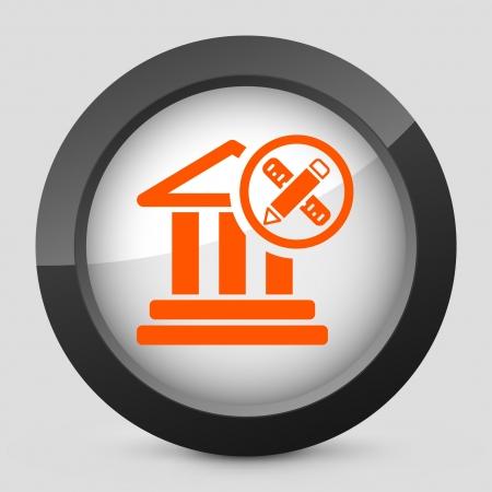 Vector illustration of single isolated elegant orange glossy icon. Stock Vector - 17790218