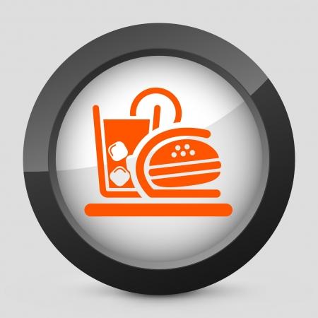 Vector illustration of single isolated elegant orange glossy icon. Vector
