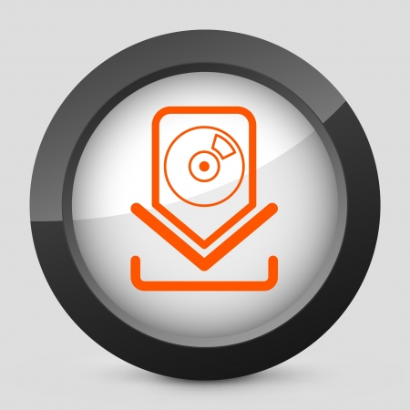 downloads: Vector illustration of single isolated elegant orange glossy icon. Illustration