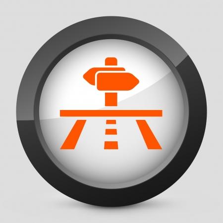 cartel: Vector illustration of single isolated elegant orange glossy icon. Illustration