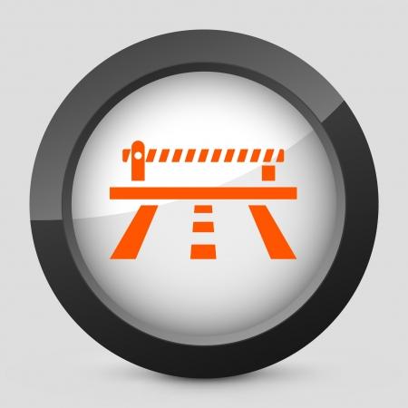 frontier: Vector illustration of single isolated elegant orange glossy icon. Illustration