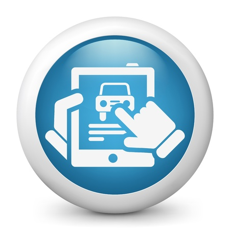 dealership: Car website icon on tablet Illustration
