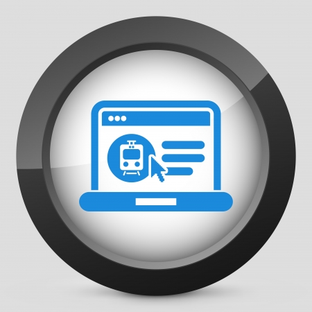 Icon of booking train ticket on web agency Vector
