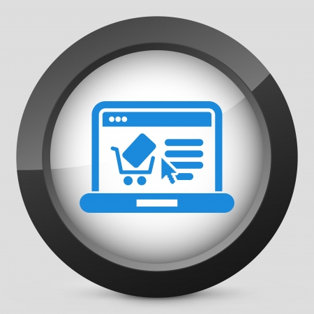 Store website icon illustrated on computer Vector
