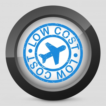 low cost: Low cost airline stylized grunge icon Illustration